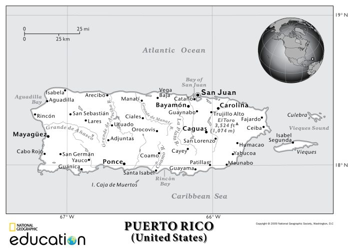 Puerto Rico, you lovely island, island of tropical breezes . . . Map by National Geographic