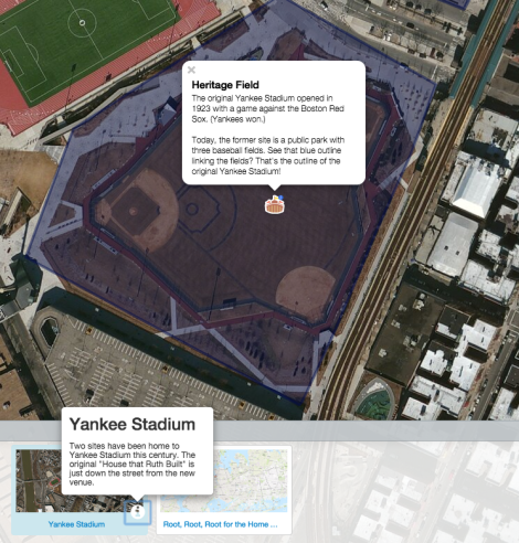 "Take a look at today's MapMaker Interactive map, which shows the site of the original Yankee Stadium. We used the ""satellite image"" base map so you can see the neighborhood (that's the Harlem River to the west), and the baseball stadium markers (how often do we get to use those?!) Be sure to click on the markers to learn a little about the stadia."