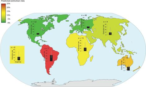 The highest risks characterized South America and Australia (14% to 23%), and the lowest risks characterized North America and Europe (5% to 6%). Colors indicate relative risk. Bar graphs with 95% CIs and number of studies (n) are displayed. Click here to read the entire, fascinating report in the journal Science. Map courtesy Mark C. Urban and Science