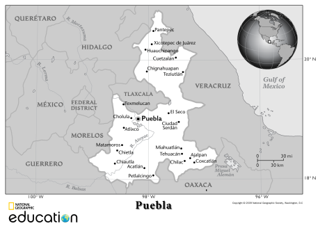 Only in the state of Puebla is El Día de la Batalla de Puebla an official holiday. Customize your own map of Puebla—or any other state in Mexico—with our awesome 1-Page Outline Maps. Map by National Geographic