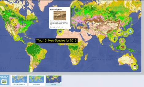 """Where are the """"Top 10"""" new species found? Use our map to find out, and experiment with layers to investigate land-use patterns in these regions."""