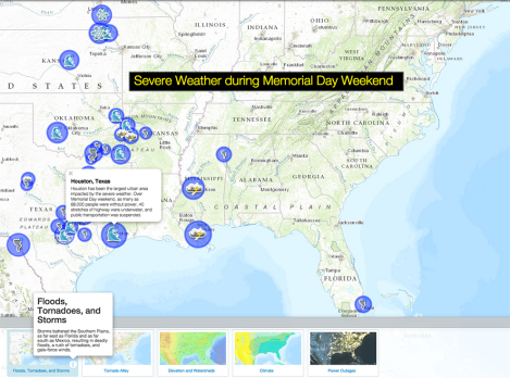 Customize today's map with updated information from The Weather Channel or other news sources, and explore some layers to understand how natural and man-made geographies are impacted by severe weather.