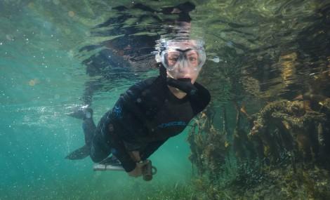 Clare Fieseler snorkeling in Belize.
