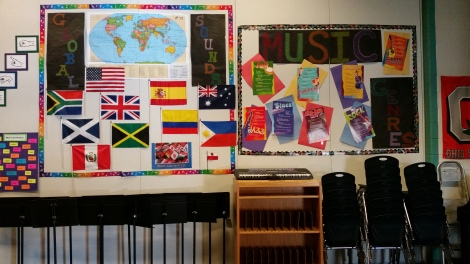 Some of the countries, cultures, and musical genres featured in Global Sounds. Photograph by Mary Ludwig.