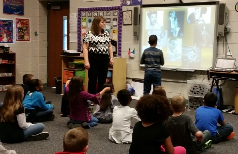 Mary highlights famous jazz musicians during a mini-lesson for her 2nd graders. Photograph by Bailey Collins.
