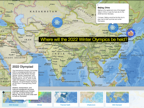 Customize this map and use our bookmarks to understand the environmental and economic challenges faced by Olympic host cities in 2022—and potential sites for the summer games in 2024!