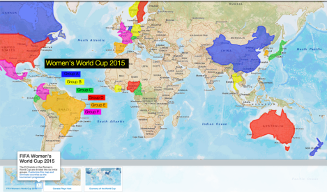 Check out our map of the countries competing for the cup, and customize it as your own. Use the trashcan tool to eliminate countries as the tournament progresses, and add markers with scores and photos of important games.