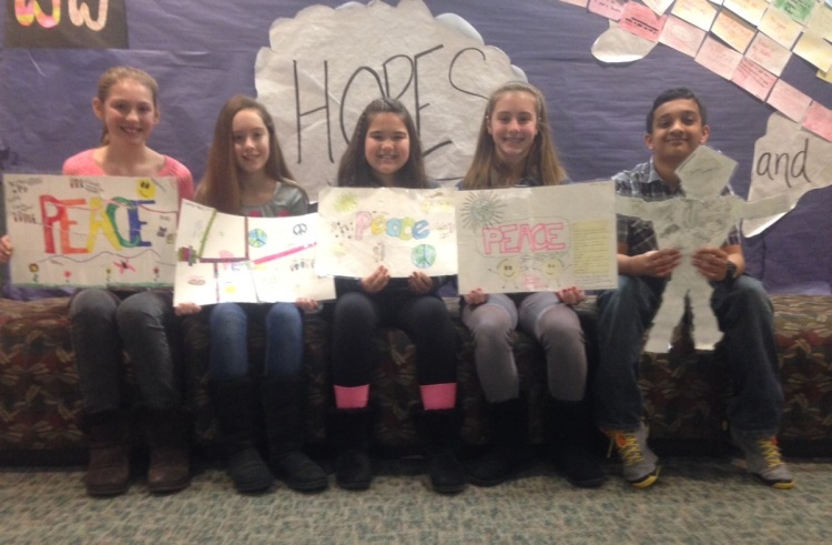 Sixth-graders from Jeremy's class with their visions of peace. Photograph by Jeremy Forgione