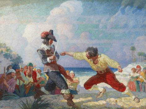 "Pirate expert Robert Kurson says there is ""some truth"" to the popular image of pirates, evidenced in this gorgeous painting by N.C. Wyeth. Learn more about the ""Duel on the Beach"" here. Painting by N.C. Wyeth, courtesy National Geographic"