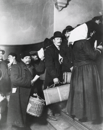 Newly arriving immigrants on Ellis Island.