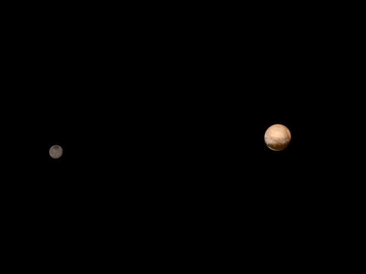 This image of Pluto and its great big moon, Charon, was taken on July 7, when New Horizons was just under 8 million kilometers (5 million miles) from the dwarf planet. Photo by NASA/Johns Hopkins University Applied Physics Laboratory/Southwest Research Institute