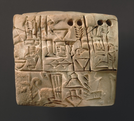 According to the good folks at the Met, this tablet most likely documents grain distributed by a large temple, although the absence of verbs in early texts makes them difficult to interpret with certainty. The seal impression depicts a male figure guiding two dogs on a leash and hunting or herding boars in a marsh environment. Photograph courtesy the Metropolitan Museum of Art