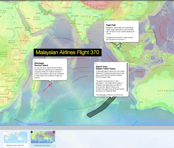 Use today's MapMaker Interactive map to follow the mystery of Malaysian Airlines Flight 370. Uncover the flight path and debris with markers in our first bookmark, and experiment with layers to better understand how currents, ocean depths, and sea-surface temperatures may influence search efforts.