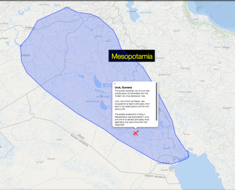"Today's MapMaker Interactive map is a simple locator map of the Mesopotamian region and the ancient city of Uruk. We used the ""Ocean/Water"" base map to show how the ""cradle of civilization"" was utterly dependent on its network of rivers, dominated by the Tigris and Euphrates."
