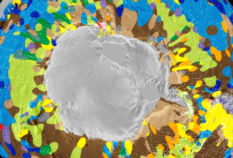 The biologically rich waters of the Antarctic Circumpolar Current contribute to the biogenically rich seafloor below. Map by EarthByte Group, School of Geosciences, University of Sydney, Sydney, NSW 2006, Australia National ICT Australia (NICTA), Australian Technology Park, Eveleigh, NSW 2015, Australia