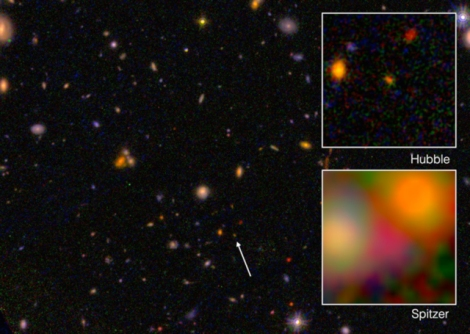 Galaxy EGS8p7 is the oldest, most distant object yet identified in the universe. Above, EGS8p7 is seen from the Hubble Space Telescope (wide and top right) and Spitzer Space Telescope (inset, bottom right). Photographs by I. Labbé (Leiden University), NASA/ESA/JPL-Caltech