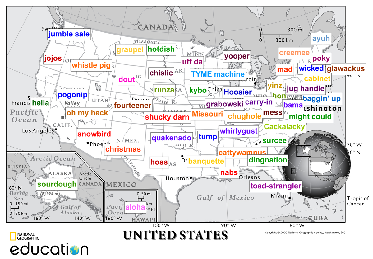 we used our 1 page map of the us to plot slates united slang