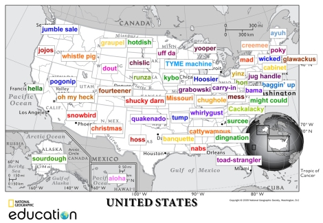 "We used our 1-Page Map of the U.S. to plot Slate's ""United Slang of America."" What would your's look like?"
