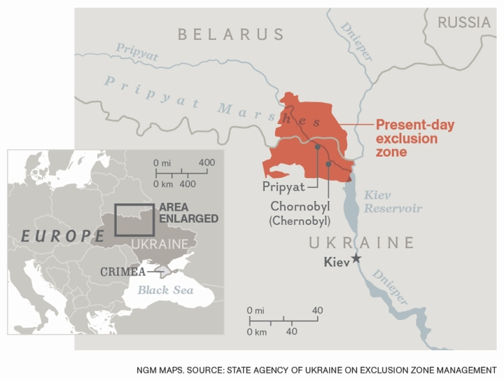 The new census of large mammals around Chernobyl focused on the exclusion zone in Belarus. Map by National Geographic