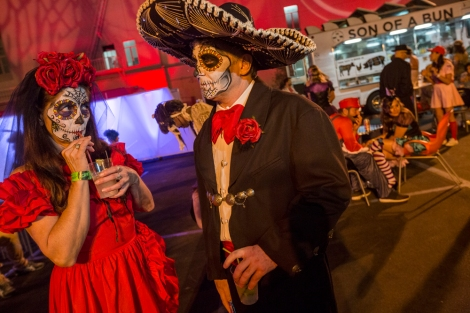 Los Angeles radio station KCRW celebrates Halloween and Dia de los Muertos with food-truck catered fundraiser featuring music (of course) and a masquerade ball. Photograph by Gerd Ludwig