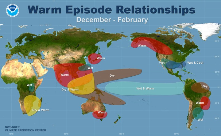 This terrific map from the good folks at Climate.gov provides a generalized prediction for this year's El Niño event. To get your ENSO outlook for today, just click here! NOAA is awesome.