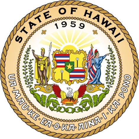"The Great Seal of the State of Hawaii is loaded with symbolism. Use it and the links provided to start a great report on the Aloha State! 1959 was the year Hawaii became a U.S. state. The Hawaiian motto at the base of the seal, ""Ua Mau ke Ea o ka ʻĀina i ka Pono,"" is commonly translated as ""The life of the land is perpetuated in righteousness."" The man on the left side of the seal is Kamehameha I, the monarch who unified the Hawaiian Islands. On the right is the Western personification of Liberty. The red, white, and blue stripes represent the flag of Hawaii, and the eight stripes represent the eight major islands. The designs on the yellow background are puloʻuloʻu, or kapu sticks. (Kapu sticks were symbols of authority in pre-contact Hawaiian culture.) The star in the middle of the seal represents Hawaii's place as the 50th state in the U.S., and the 50th star in the U.S. flag. The eight taro leaves at the bottom of the design represent Hawaii's eight major islands. Next to the taro leaves are banana leaves—Hawaii is the only major exporter of bananas in the U.S., and banana foliage is a common plant. Finally, maidenhair ferns, rising from the banana leaves, are common and popular plants throughout Hawaii. Illustration courtesy State of Hawaii"