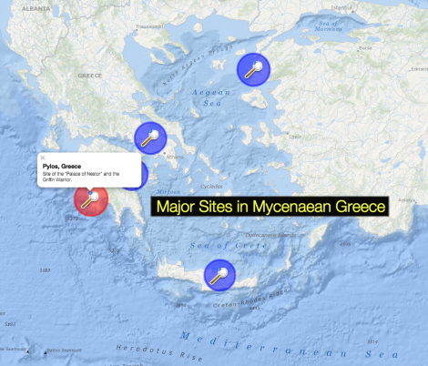 Put the Griffin Warrior in geographical perspective with this easy locator map of major sites in Mycenaean Greece.