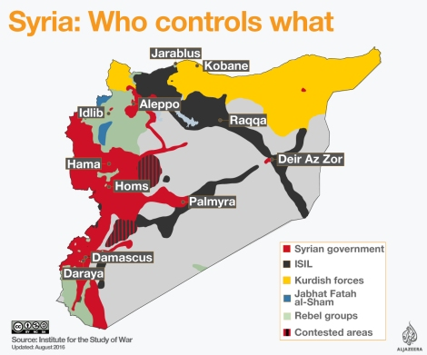 This great map from Al Jazeera and the Institute for the Study of War outlines battle fronts in the ongoing Syrian Civil War.Map courtesy Al Jazeera and the Institute for the Study of War
