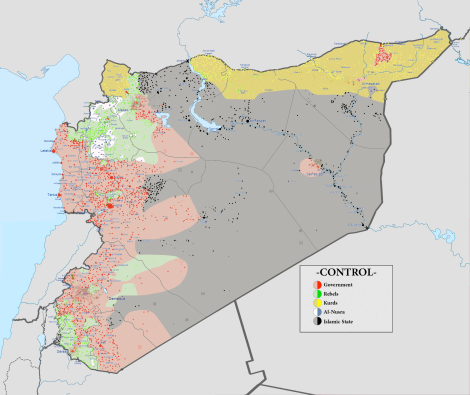 This remarkable map gives a great overview of the current military situation in Syria. The last time this map was updated was September 30, 2015. Map by NordNordWest, Spesh531, and others, courtesy Wikimedia. CC-BY-4.0, 3.0 Unported, 2.5 Generic, 2.0 Generic and 1.0 Generic.