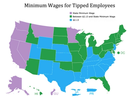 Federally, the minimum wage for tipped employees is $2.13. Click here to see what the tipped minimum wage is in your state.