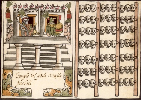 The skulls of many victims of the caravan discovered by Mexican archaeologists were displayed on tzompantlis, or skull racks, like this one. (This tzompantli is part of the remarkable Tovar Codex, which attempts to illustrate the history of the Aztec or Mexica people.) Illustration attributed to Juan de Tovar (1580s), courtesy CJLL Wright and Wikimedia.