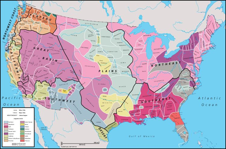 This map shows the location of Native American groups in part of North America before the mid-1700s. Can you find the Wampanoag? The Algonquin (Algonkian)? Map by The Choices Program, Brown University, www.choices.edu