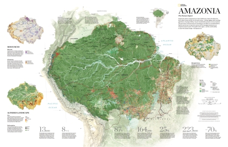 Zoom, zoom, zoom in on this beautiful map from the October issue of National Geographic magazine. Mining, logging, ranching, agriculture, and oil and gas extraction have put unsustainable pressure on the delicate rain forests of the Amazon Basin. Map by National Geographic