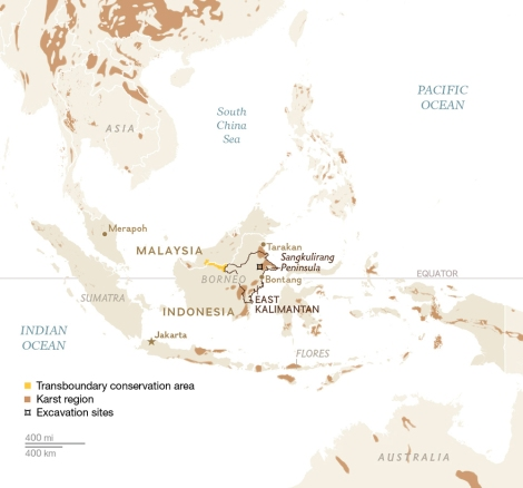 Today, Borneo is shared by the nations of Malaysia, Indonesia, and Brunei. The transboundary conservation area encompasses a sliver of the central part of the island along the border of Indonesia and Malaysia. Map by National Geographic