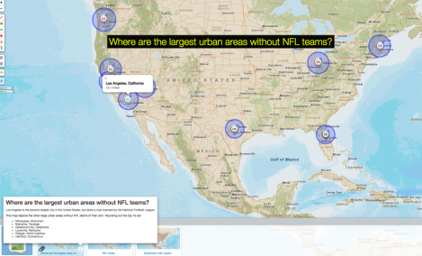 Use today's MapMaker Interactive map to see what urban areas lack an NFL team, where the 32 clubs of the NFL are currently located, and what population has to do with it.