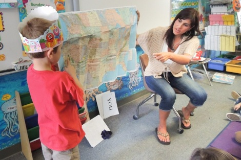 Lisa Carpentier introduces her kindergartners to maps.  Photo by Megan McClain