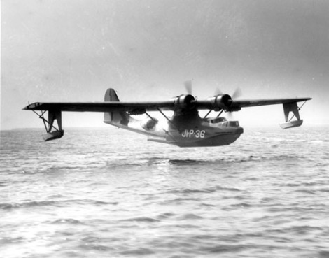 "Here's what a Catalina seaplane—nicknamed the ""Flying Boat""—looked like making a landing at the U.S. Naval Air Station Jacksonville, Florida, the 1940s. Photograph courtesy U.S. Navy"