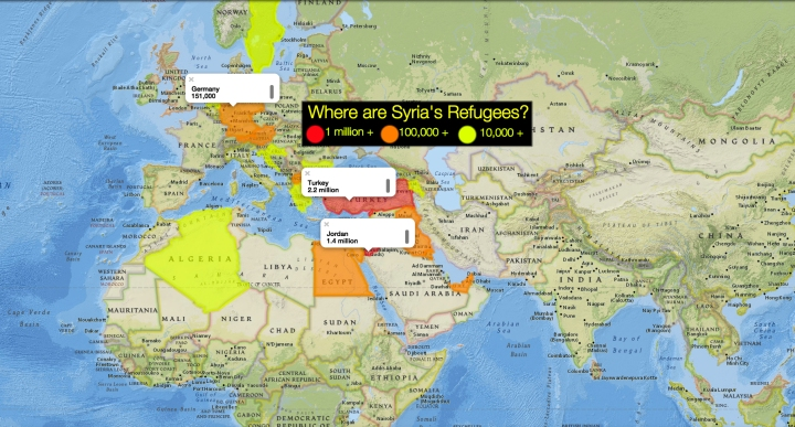 The Syrian Civil War has forced more than 4 million Syrians to flee their countries. Most have fled to the nearby hosts countries of Turkey, Lebanon, Jordan, and Iraq. Remember, this is not a National Geographic map. This is an amateur map using the National Geographic MapMaker Interactive tool. These numbers are estimates, as many Syrian refugees are undocumented or unregistered as they search for a better life in the more politically and economically stable countries of the West. Please use MapMaker to update and modify this map as information changes or becomes available. The European Union and United Nations are great sources of more information on Syrian refugees.