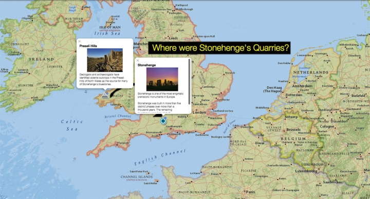 Use today's MapMaker Interactive map to see where Stonehenge's bluestones went from Pembrokeshire Coast National Park, Wales, to Salisbury Plain, England.
