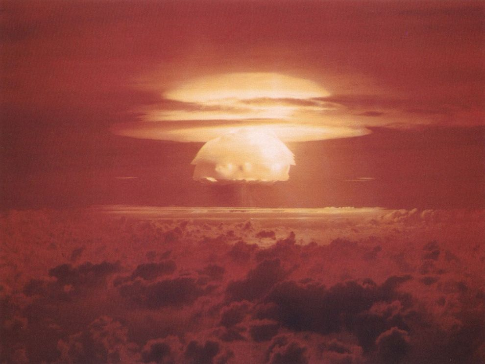 the hydrogen bomb A hydrogen bomb and an atomic bomb are both types of nuclear weapons, but the two devices are very different from each other in a nutshell, an atomic bomb is a fission device, while a hydrogen bomb uses fission to power a fusion reaction.