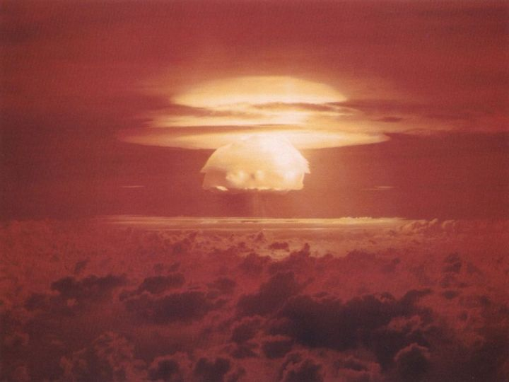 "The hydrogen bomb that exploded as part of a test codenamed ""Castle Bravo,"" above, was the largest nuclear device ever detonated by the United States. Photograph courtesy U.S. Department of Energy"