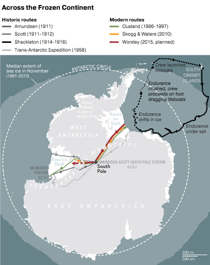 This beautiful Nat Geo map shows the routes of historic and modern Antarctic explorers. Greyscale routes are historic: Roald Amundsen, the first man to reach the South Pole; his British competition, Robert Falcon Scott; legendary explorer Ernest Shackleton; and the British Trans-Antarctic Expedition, which was the first overland crossing of the continent. Colored routes are modern: Borge Ousland, the first to cross the continent unaided by mechanical equipment; Cecilie Skog and Ryan Waters, the first to cross the continent unaided by any equipment; and Henry Worsley, who died after an attempt to be the first person to mimic Skog and Waters' feat solo. Map by Andrew Umentum, National Geographic