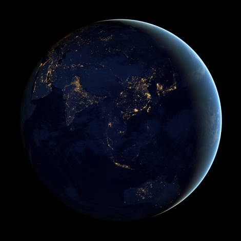 All the images in this gallery come from NASA's Earth-observing satellite Suomi NPP. You're familiar with the Blue Marble. Well, here's the Black Marble—a nighttime image showing the city lights of Asia. What is the brightly lit, heavily urbanized city-state north of Australia? What cities do the networks of the Indian subcontinent connect? Why do you think eastern China is more brightly lit than western China? Image courtesy NASA Earth Observatory/NOAA NGDC