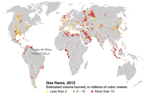 Researchers estimate that 143 billion cubic meters of gas was flared worldwide in 2012, equivalent to 3.5 percent of all that was produced. Punta de Mata, Venezuela, is home to the world's largest gas flare, incinerating about 768,000 metric tons of natural gas in 2012. Map by National Geographic