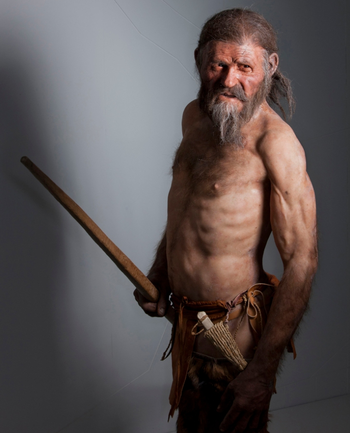 "This rugged Italian gentleman is Otzi, the Alpine caveman frozen in time. Upon his discovery in 1991, he was quickly nicknamed the ""Iceman,"" and has since become ""one of science's most carefully studied cadavers."" Photograph by Robert Clark, National Geographic"
