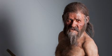 A life-size model of the Iceman.
