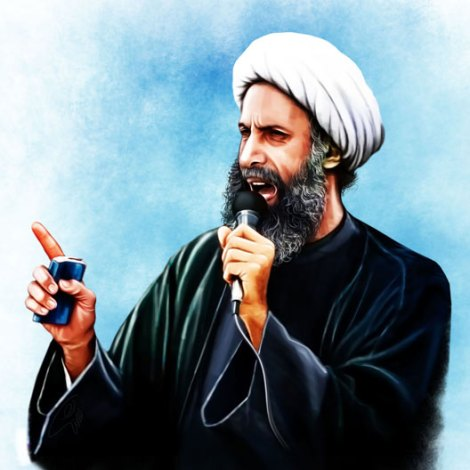 "Sheikh Nimr al-Nimr was a Saudi Arabian Shiite cleric executed by the Saudi government for ""seeking 'foreign meddling' in Saudi Arabia, 'disobeying' its rulers and taking up arms against the security forces."" Illustration by Abbas Goudarzi, courtesy Wikimedia. CC-BY-SA-4.0"