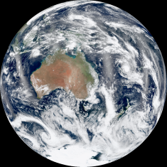 """All the images in this gallery come from NASA's Earth-observing satellite Suomi NPP. Can you understand why Australia is sometimes called the """"island continent""""? Can you spot the microcontinent of Zealandia peeking out from the clouds in the southeast? Image courtesy NASA/NOAA"""