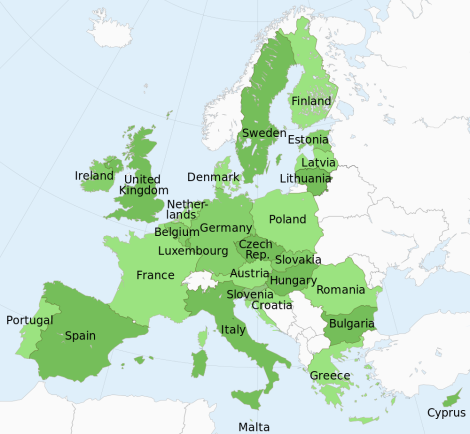 The European Union currently has 28 member states. The United Kingdom has the second-largest GDP (behind Germany), and the second-largest population (behind Germany and France). Map by Ssolbergj, courtesy Wikimedia. CC-BY-SA-3.0