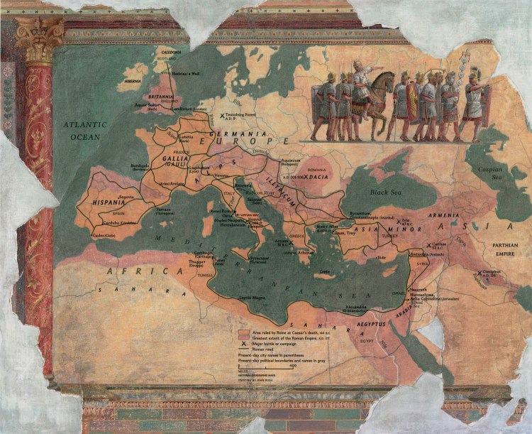 Thousands of Europeans, Asians, and Africans migrated—or were forced to migrate—to Rome. Map by National Geographic